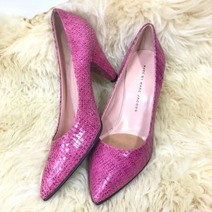 Marc by Marc Jacobs pink snakeskin retro heels